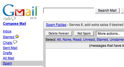 GMail Spam Recipes