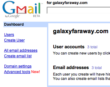 GMail for Your Domain for GalaxyFarAway.com
