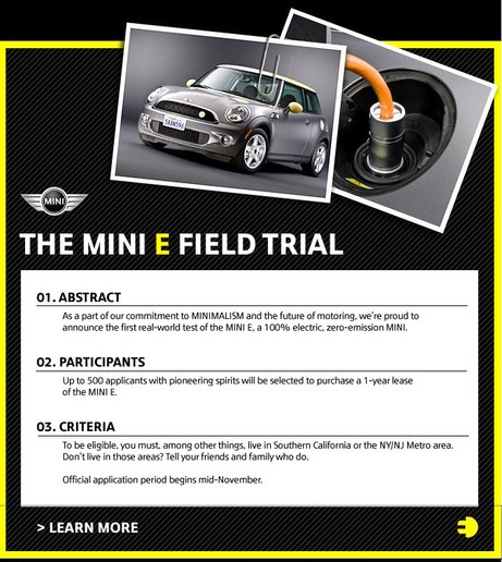 An email from MINI about their Electric car field trial.